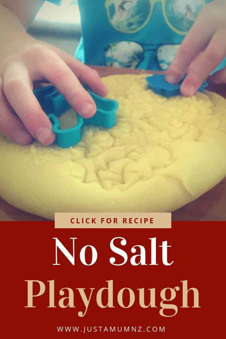 This simple no salt playdough recipe uses only 3 ingredients and is quick and easy to make. You can add food colouring and the kids will think it is so fun to make #recipes #best #playdoh #home #children #activites