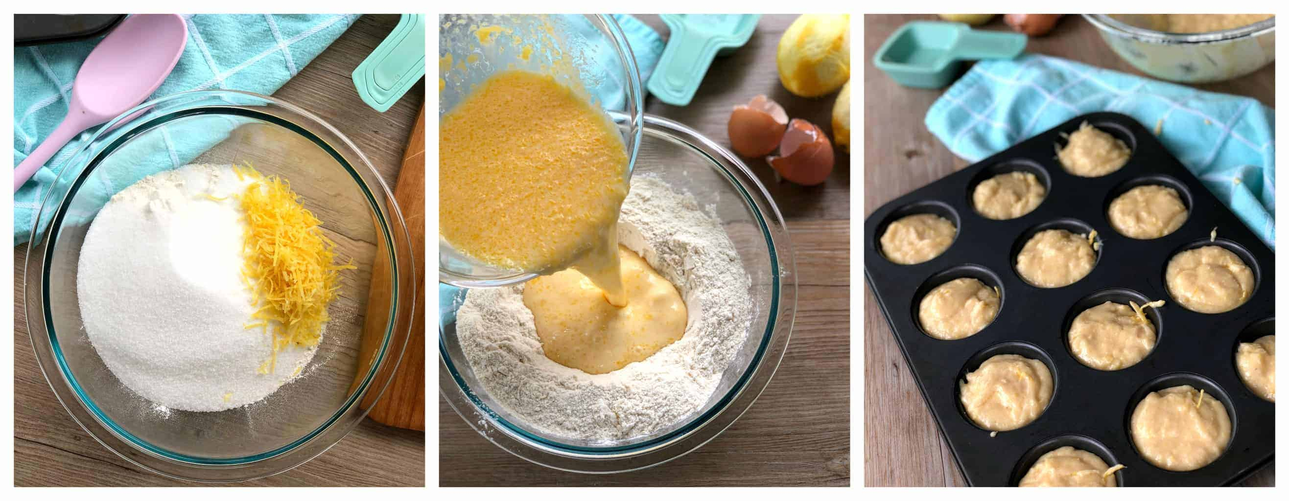 Step by Step for making lemon Muffins