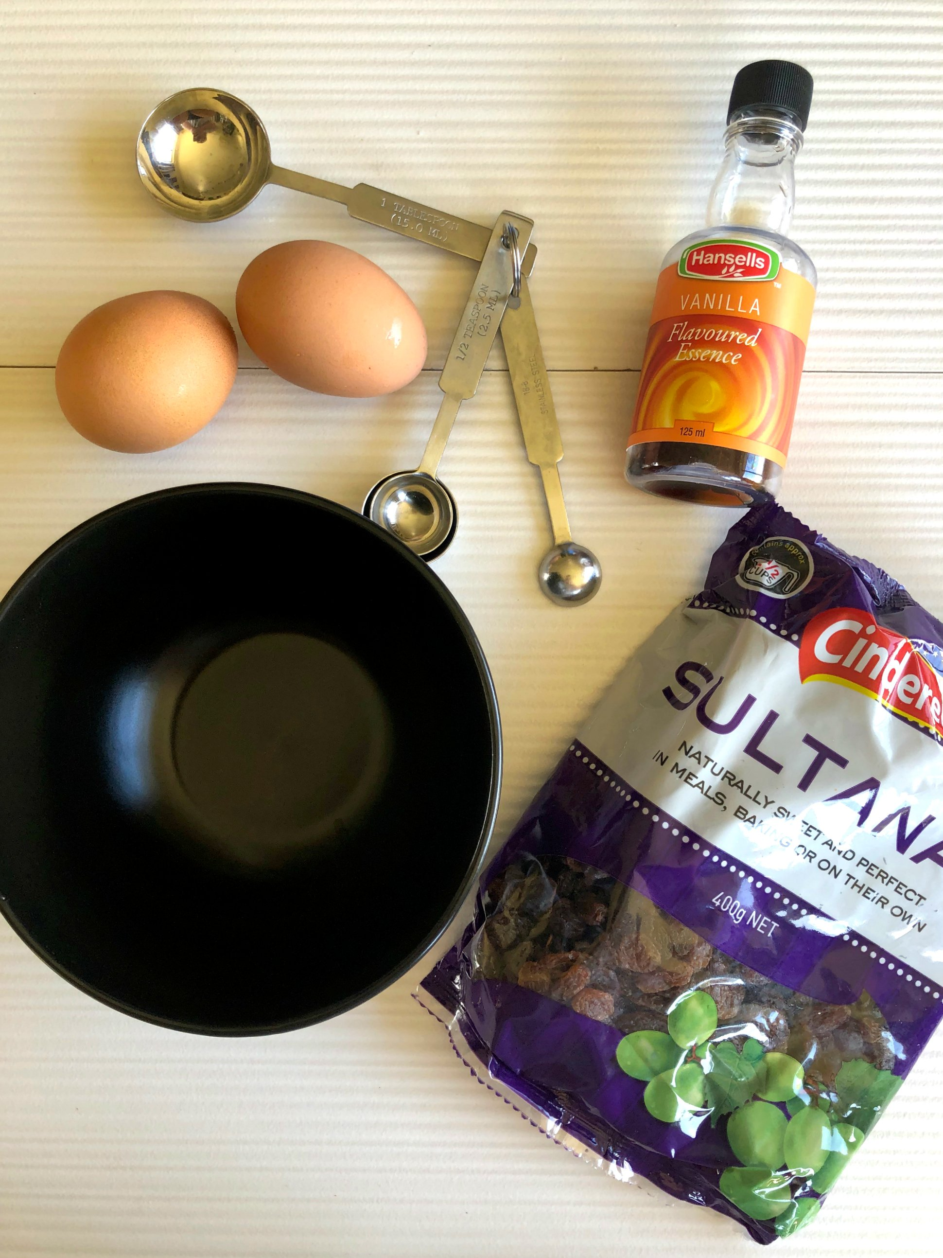 Soak the Sultanas or Raisins in egg and vanilla for great oatmeal Raisins