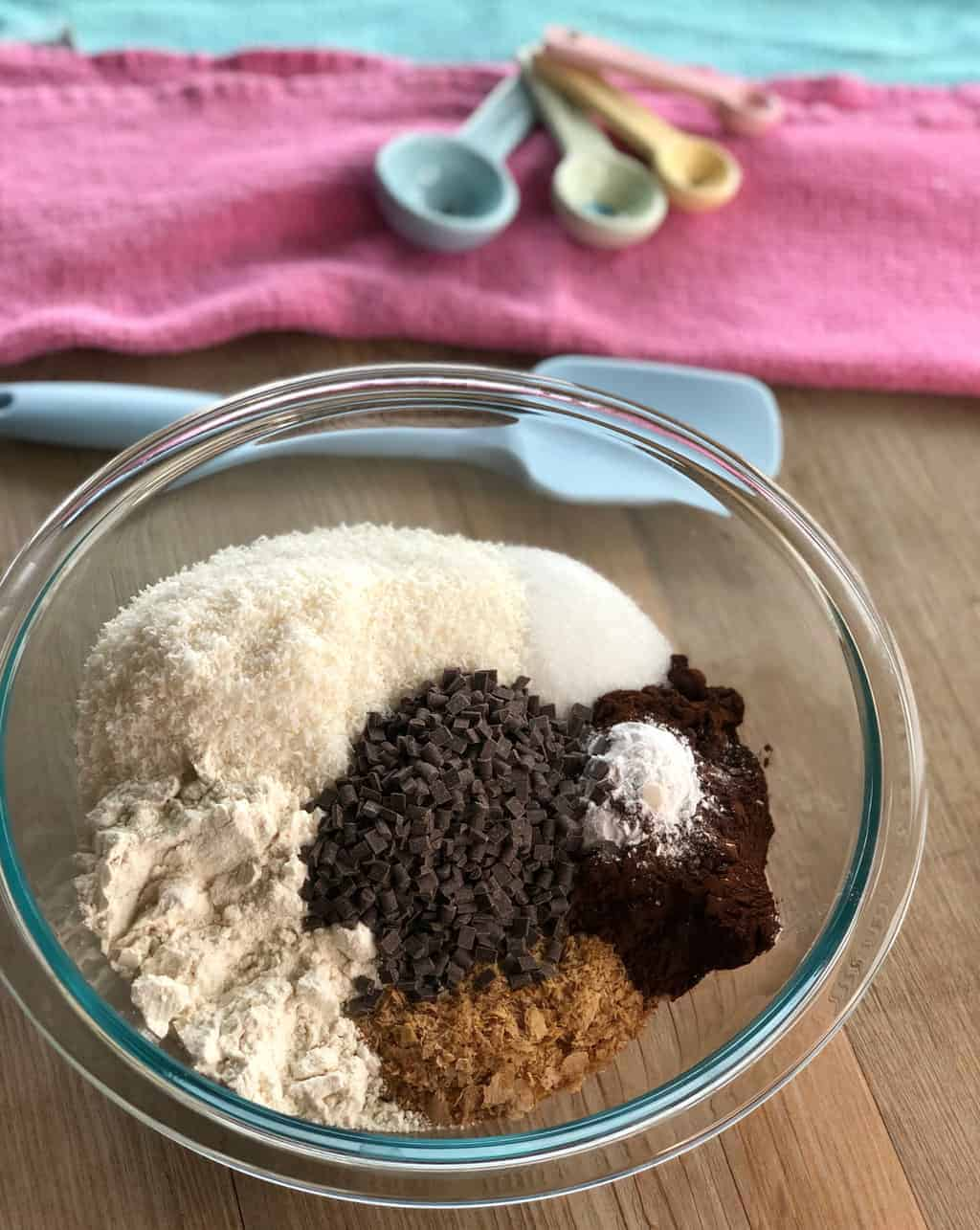 Dry Ingredients for Chocolate Weetbix Slice