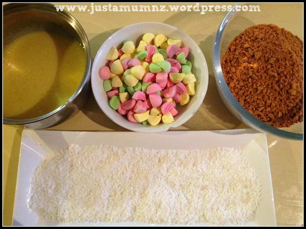 Ingredients for lolly cake prepared ready to use.