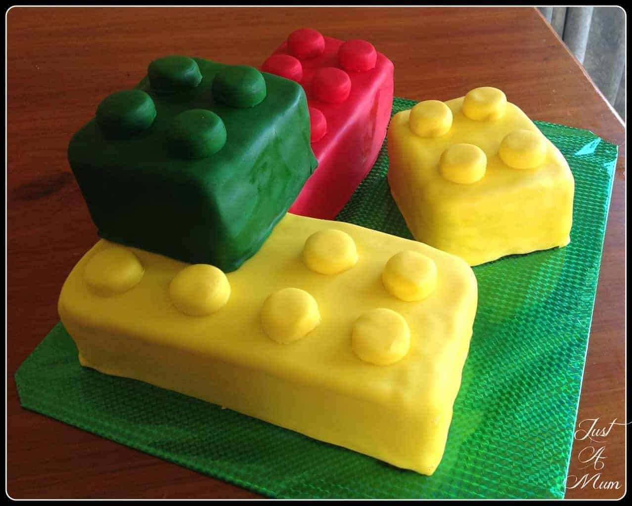 Pieces of Lego Cake - Just a Mum