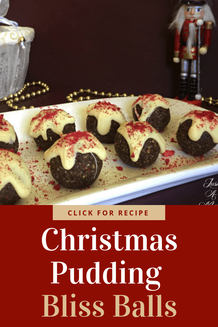 Delicious Christmas Pudding Bliss Balls using fruit mix and lovely christmas flavours. So easy to make, a great gift or snack.
