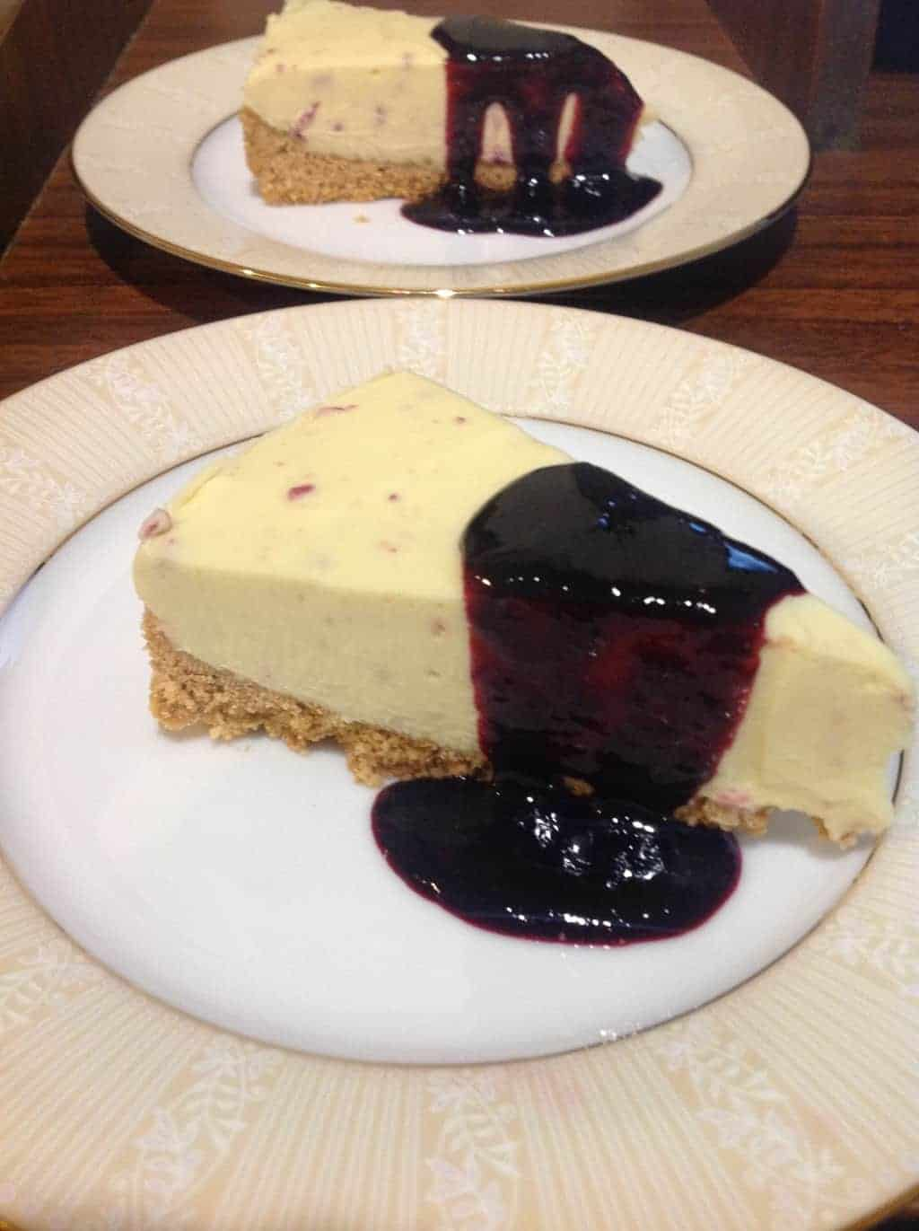 Divine White Chocolate Cheesecake & Berry Coulis