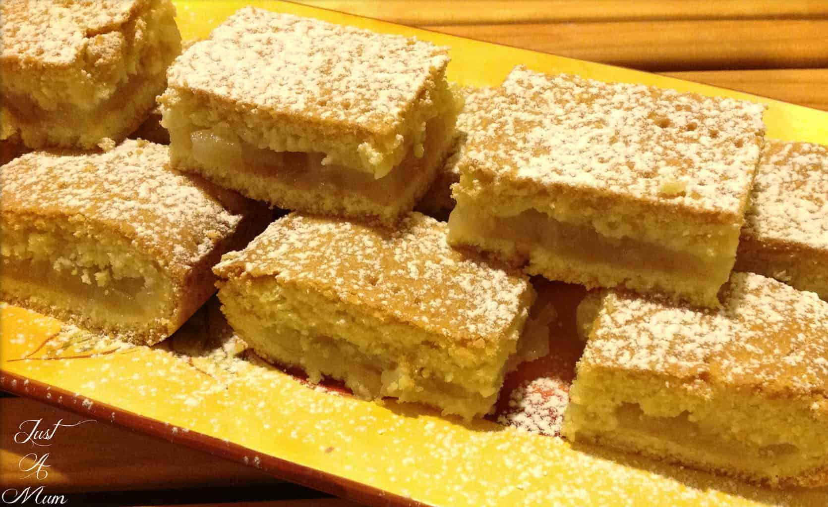 Plate of sliced Apple Shortcake