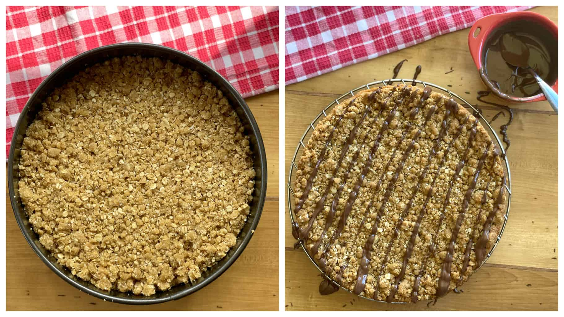 Anzac Slice before baking and after chocolate drizzle
