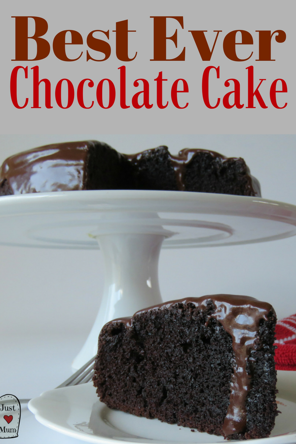 This is THE best chocolate cake. Delicious, decadent and oh so moist. It gets better every day.