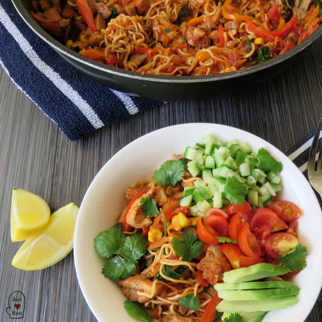 Chicken Burrito Noodle Bowl - Just A Mum