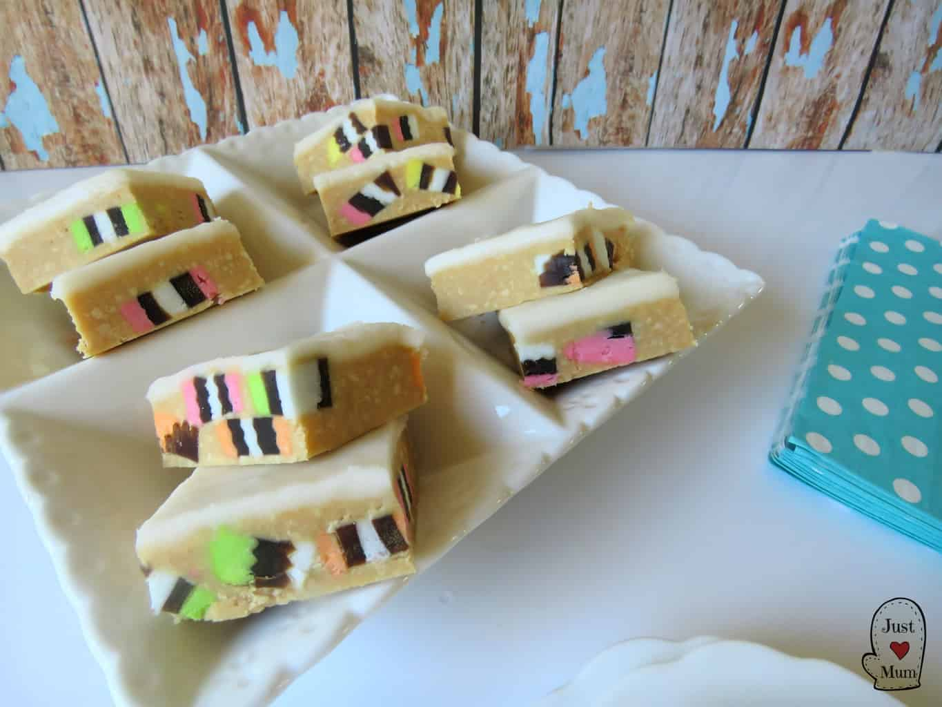 Just A Mum's No Bake Licorice Allsorts Slice