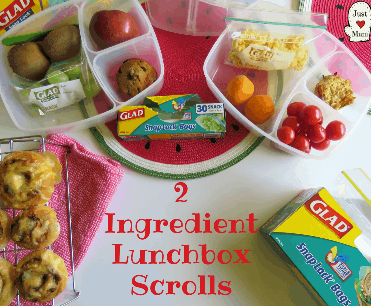 Just A Mum's 2 Ingredient Lunchbox Scrolls