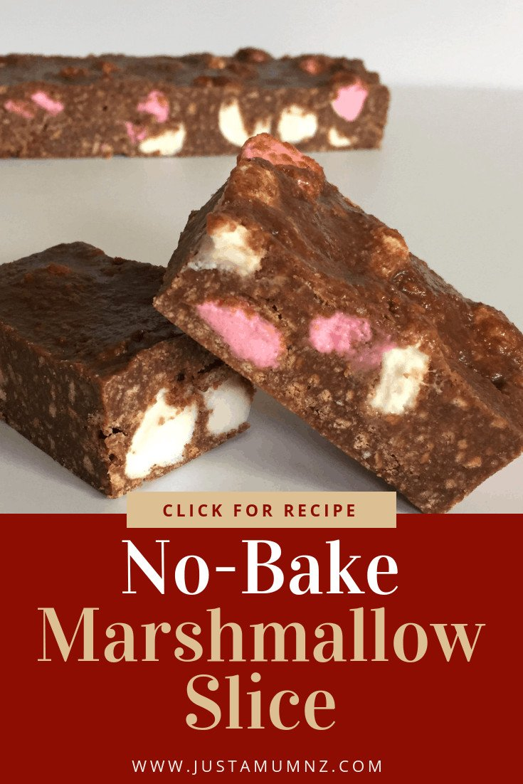 You will love this recipe for no bake marshmallow slice! So easy using biscuits, cocoa, condensed milk and more in a simple easy to make slice. Better than a rocky road, kids and more will love it. You can even make it gluten free! Check out the recipe for more info #baking #ricekrispie #easy #nobake #chocolate