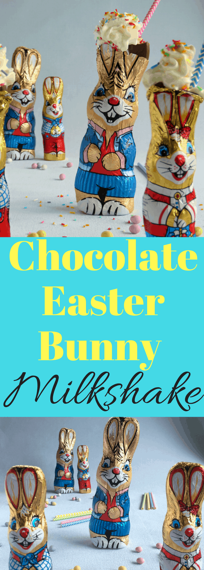 Delicious Easter Chocolate Bunny filled Milkshakes, Kids will Love them!