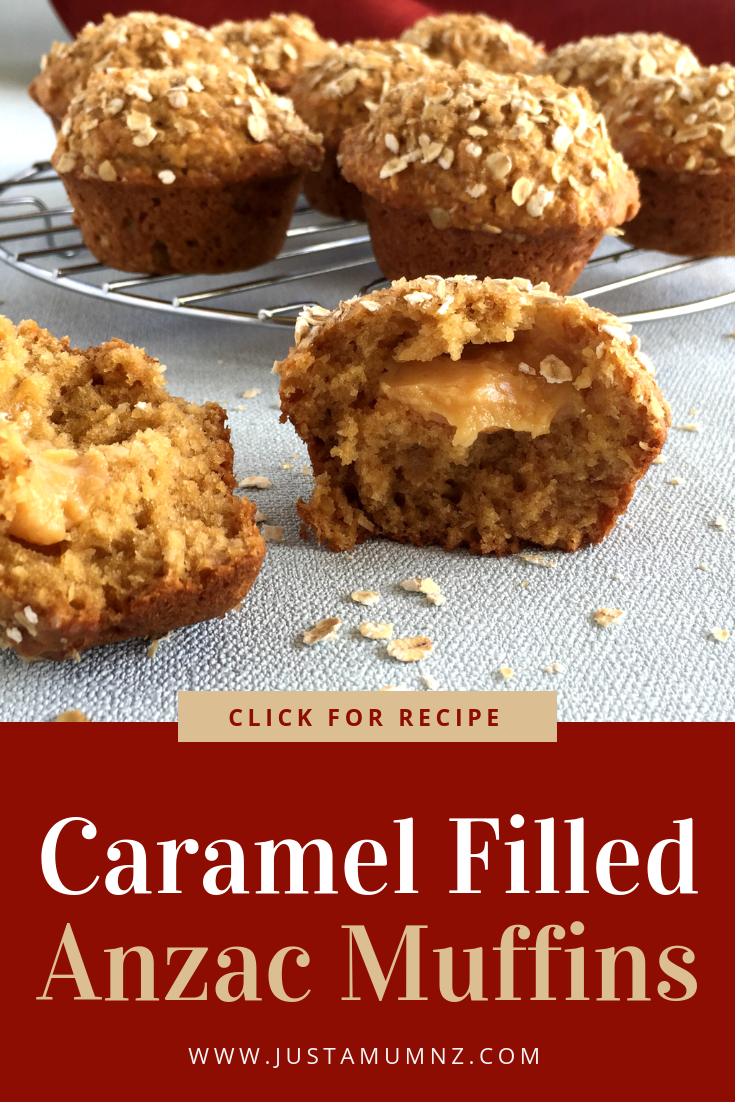 If you love Anzac biscuits you will love these muffins. All the flavours in this recipe of the original biscuits, but with a lovely caramel filling. Perfect for Anzac Day, Australia Day or any day! #baking #recipe #caramel #anzac #best #cooking #newzealand #edmonds