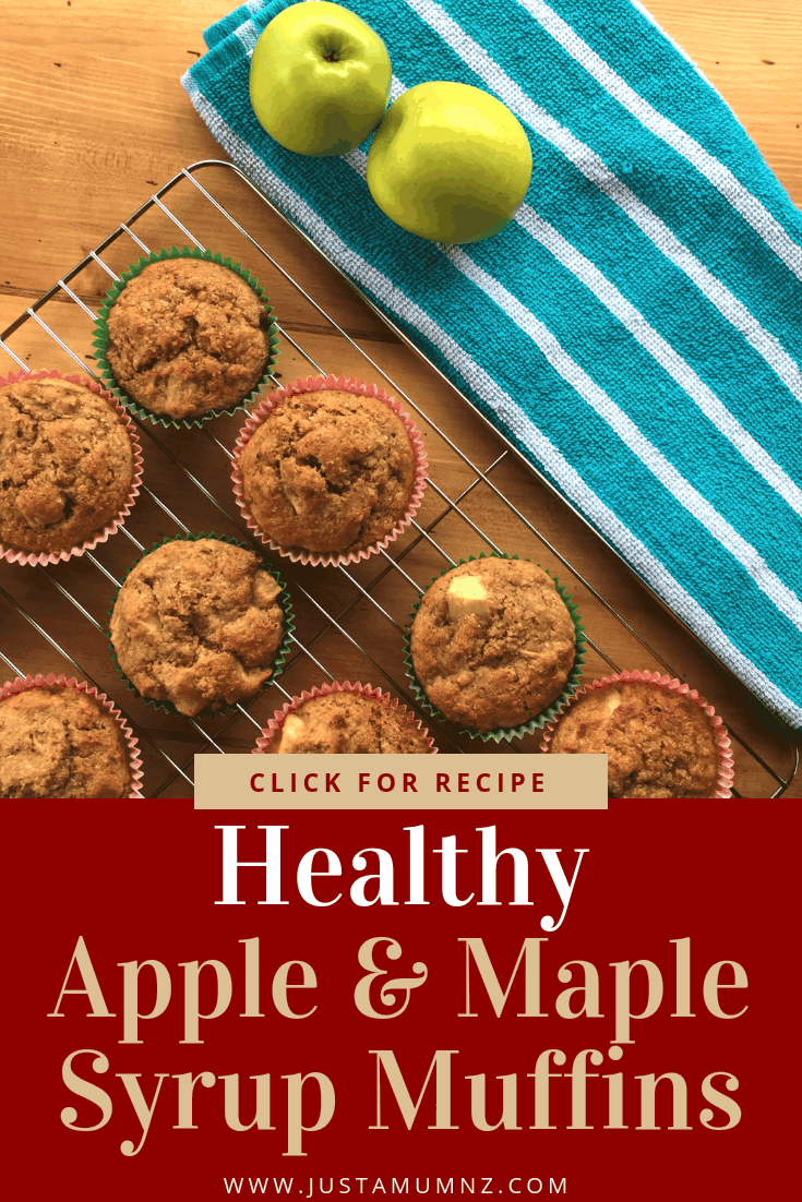 These delicious Apple & Maple Syrup Muffins are both healthy and delicious. No added sugar and you could even sub for honey, these will be a hit for any meal, including breakfast! The best most easy recipe you will make today. #baking #recipe #healthy #maple #syrup #wholemeal #muffins #best