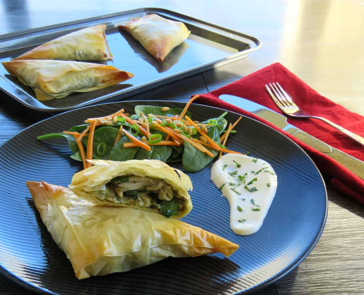 Just A Mum Mascarpone Chicken pesto Filo Parcels