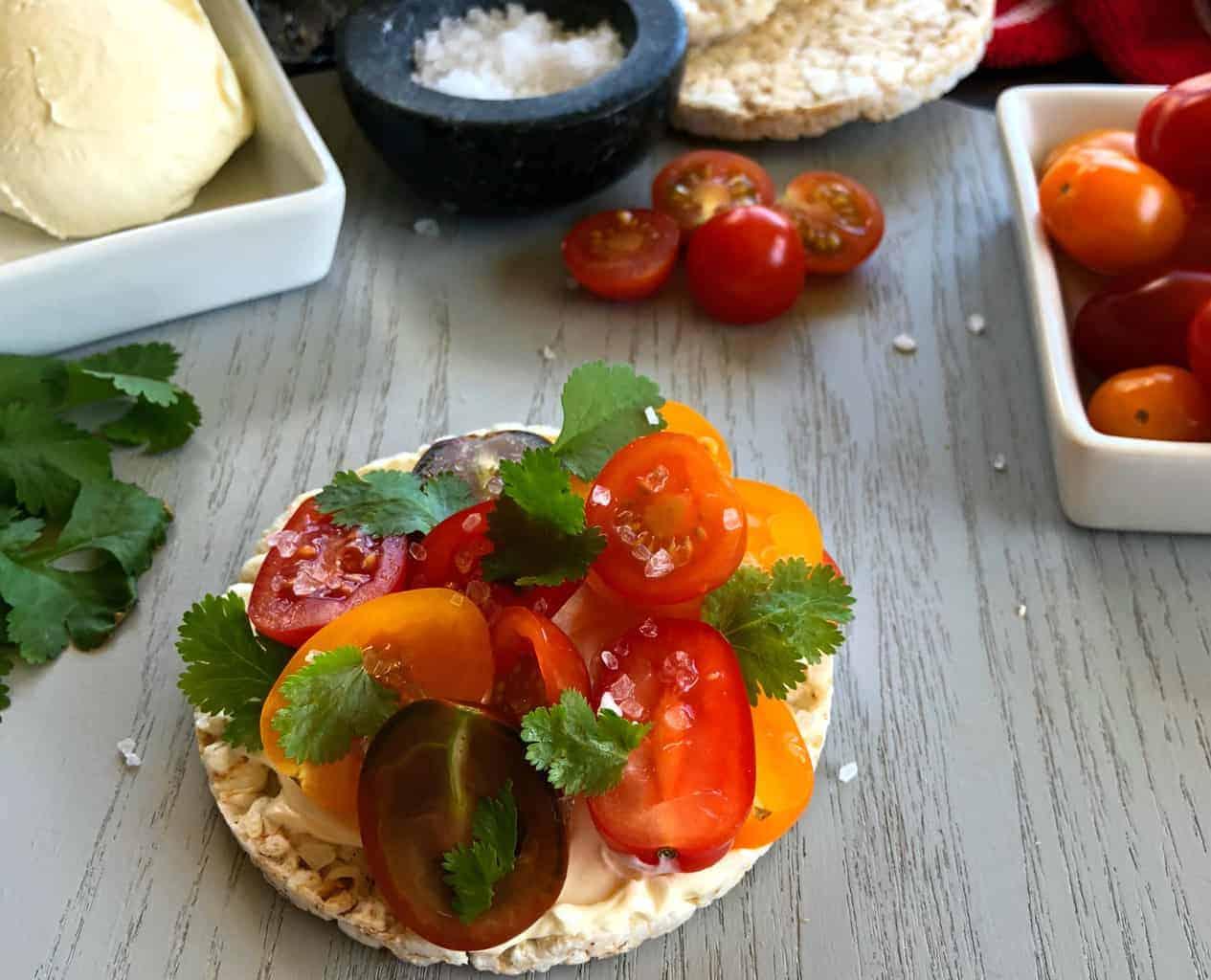 Just A Mum Tomato, cream cheese, coriander, sea salt Rice cake Topping