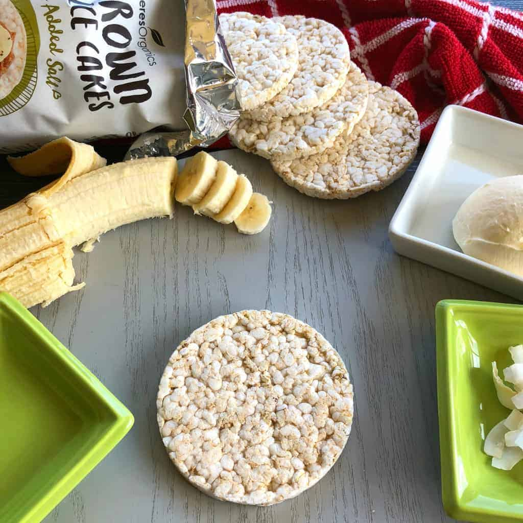 Ceres Organic Brown Rice Cakes Toppings Ideas Just A Mum Banana, honey, coconut, cream cheese