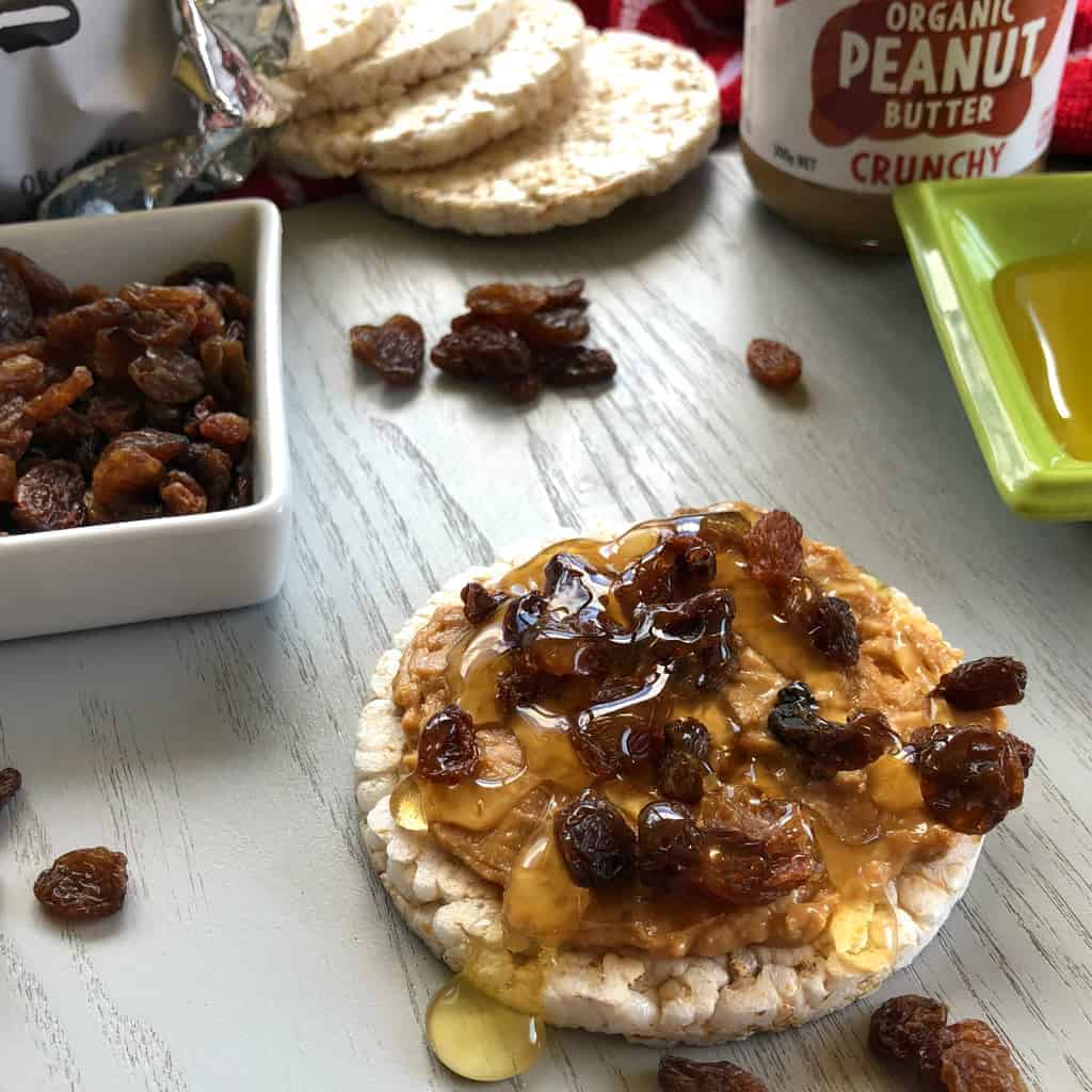 Ceres Organic Brown Rice Cakes with Toppings Ceres Organic Peanut Butter, Crunchy, sultanas, runny honey