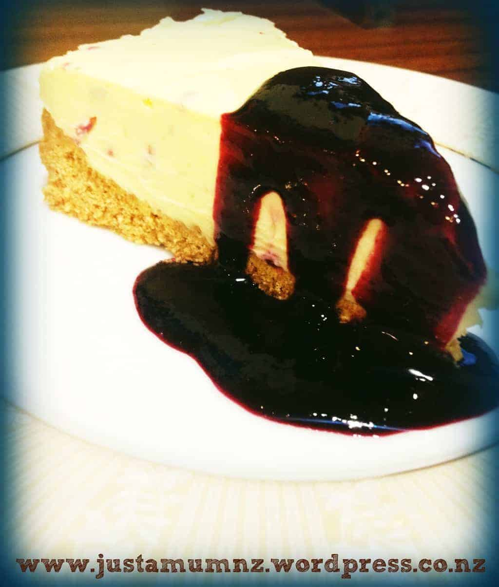 Just a Mums White Chocolate Cheesecake with Berry Coulis