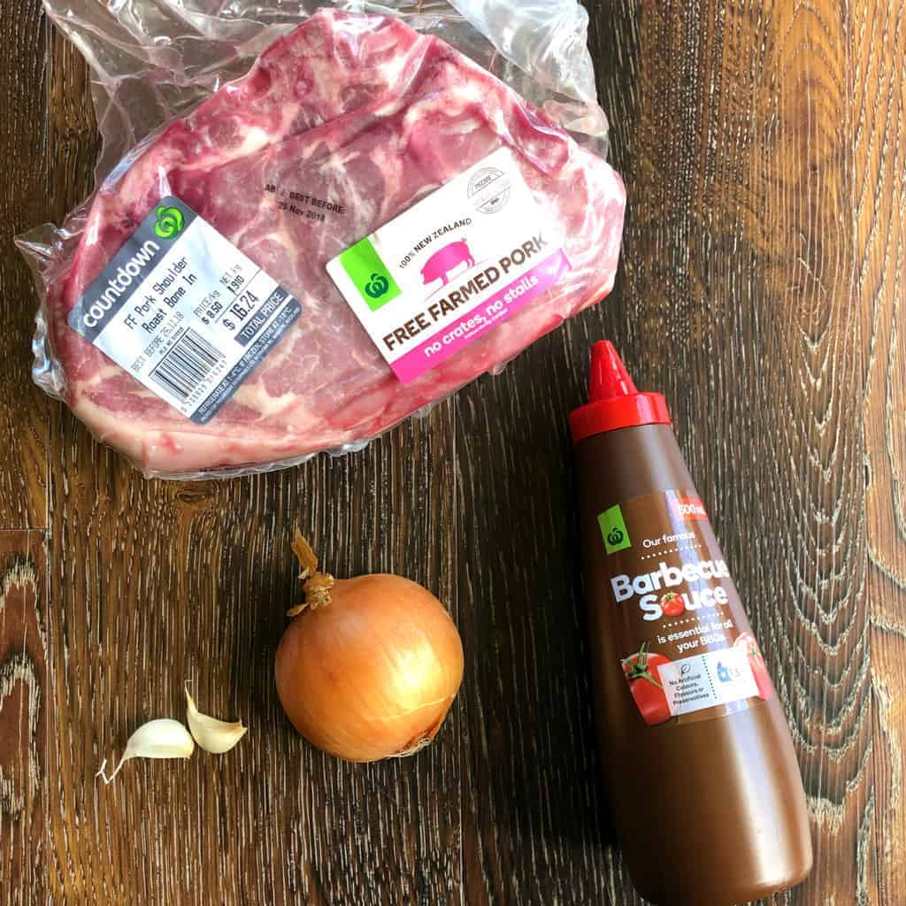 Ingredients for Just A Mum's Easy BBQ Sauce Pulled Pork