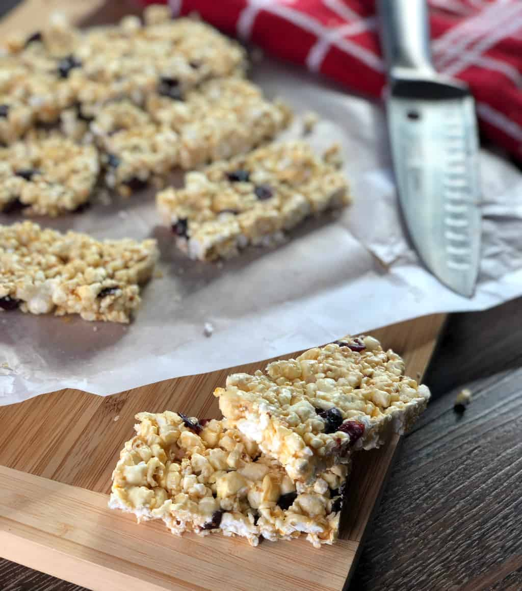 Honey Popcorn Bars with Cranberries and white chocolate drops
