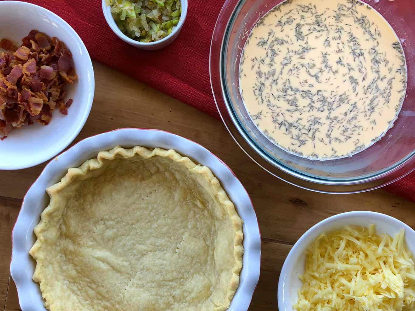 Ingredients Prepared to fill the Quiche Lorraine and crust from Just A Mum