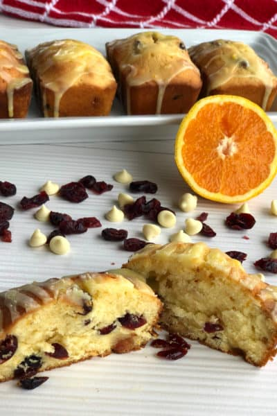 White Chocolate & Cranberry Loaf with Citrus Glaze