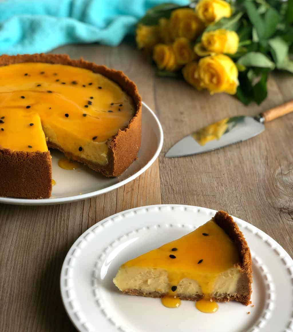 Easy Baked New York Cheesecake with Passionfruit Sauce