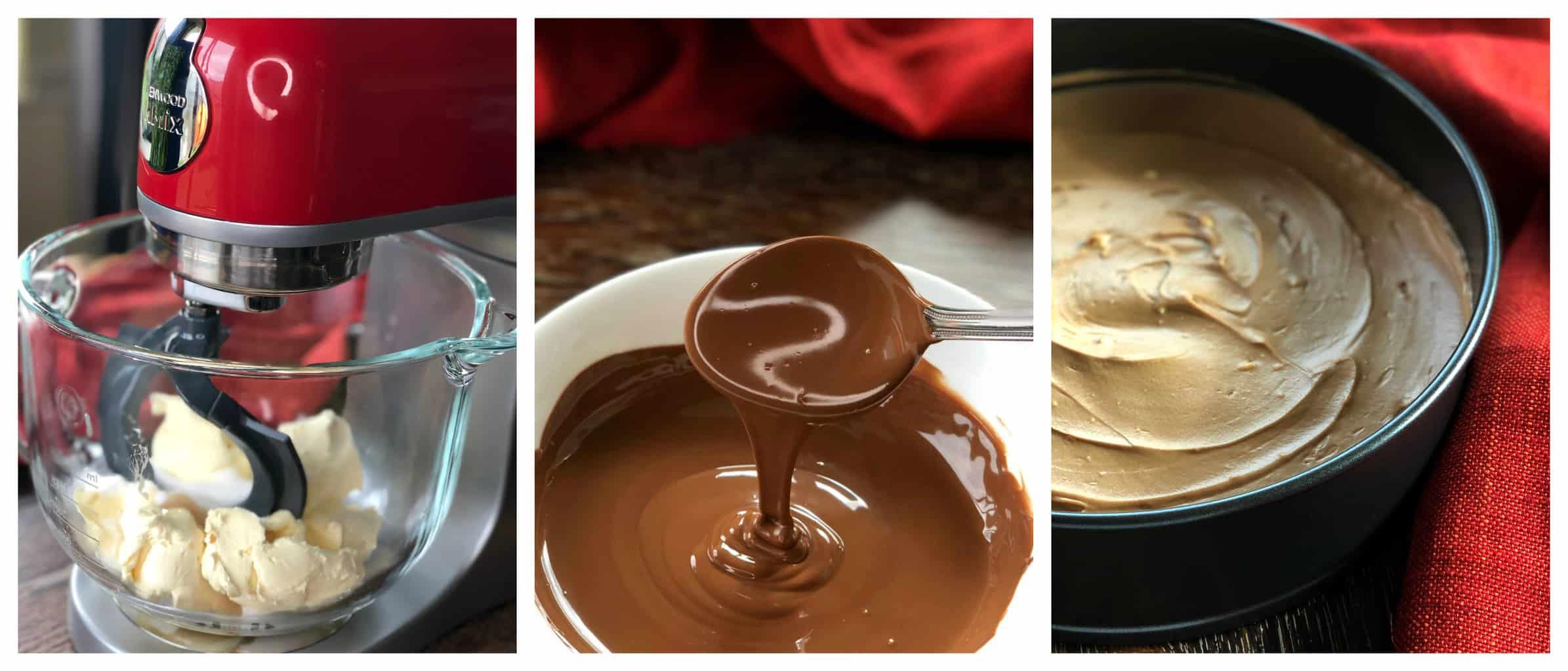 Preparing the Milk Chocolate Cheesecake