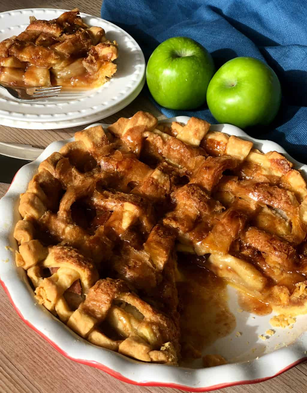 Delicious Caramel Apple Pie - sliced and ready to eat