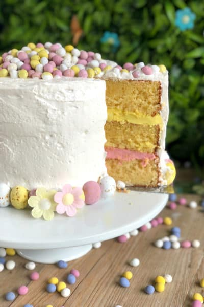 Easter Spectacular Layer Cake with Honey Meringue Frosting