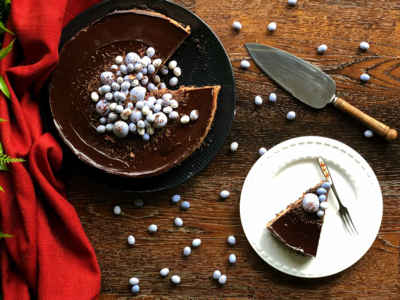 Divine Triple Chocolate Cheesecake Decorated with Easter Eggs