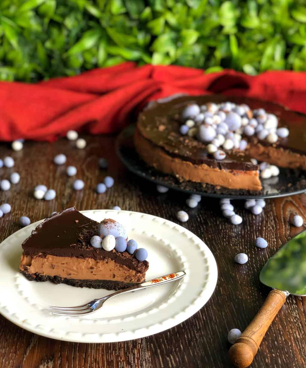 Slice of Triple Chocolate Cheesecake