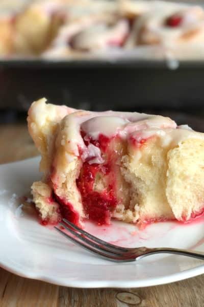 Soft Raspberry Lemon Iced Rolls