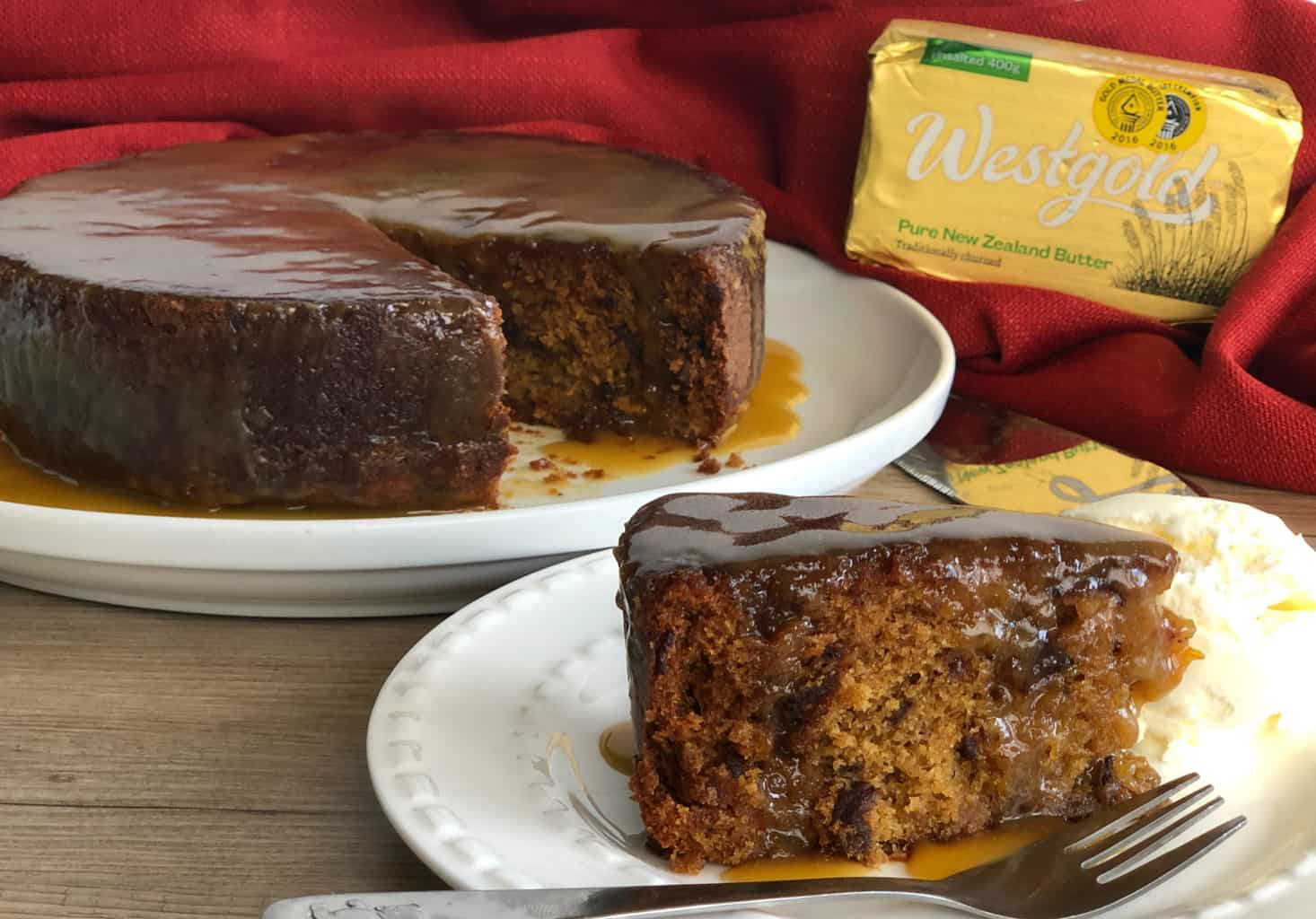 Slice of Sticky Date Pudding Served with Butterscotch Pudding