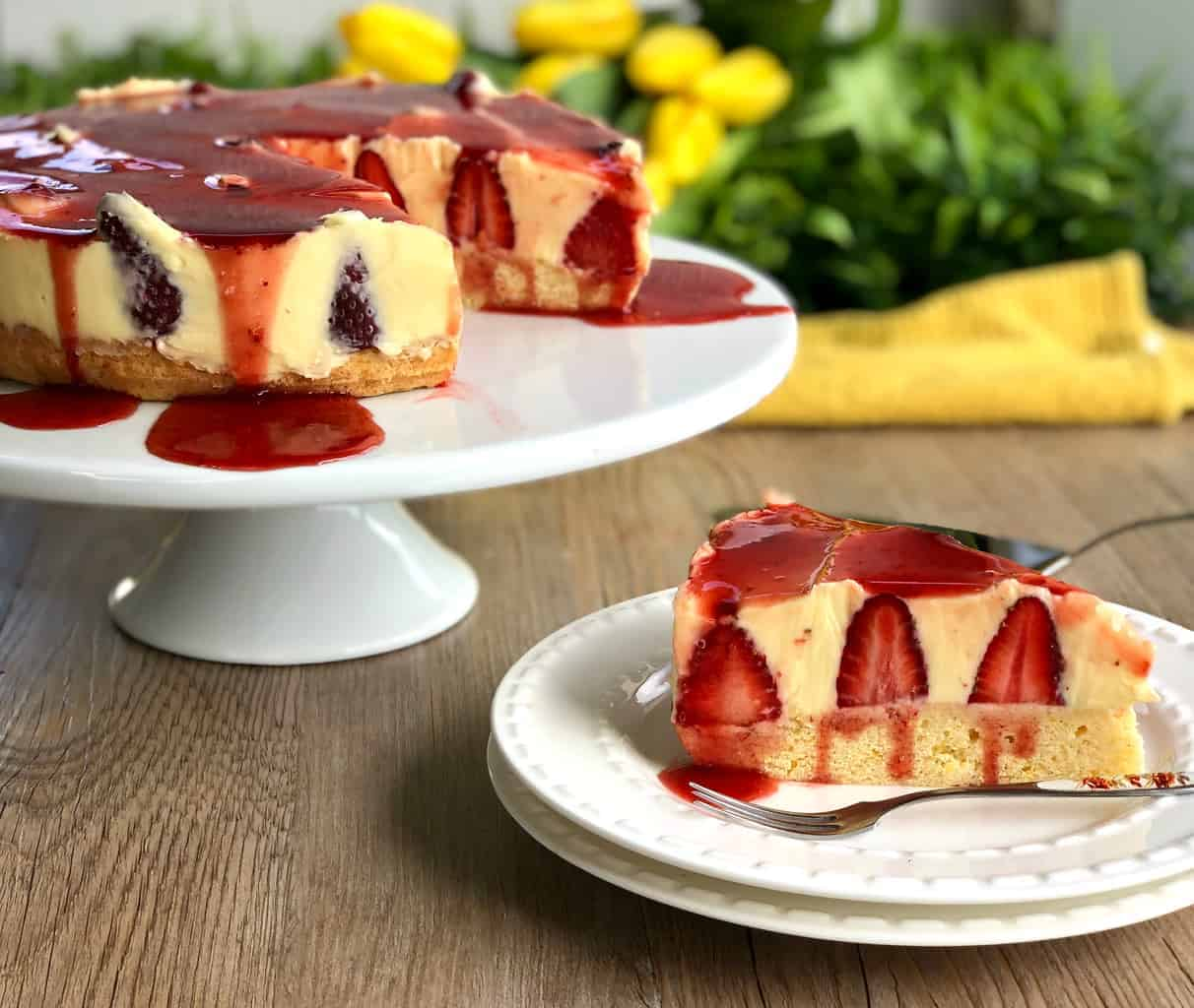 Slice of Strawberry Shortcake Cheesecake