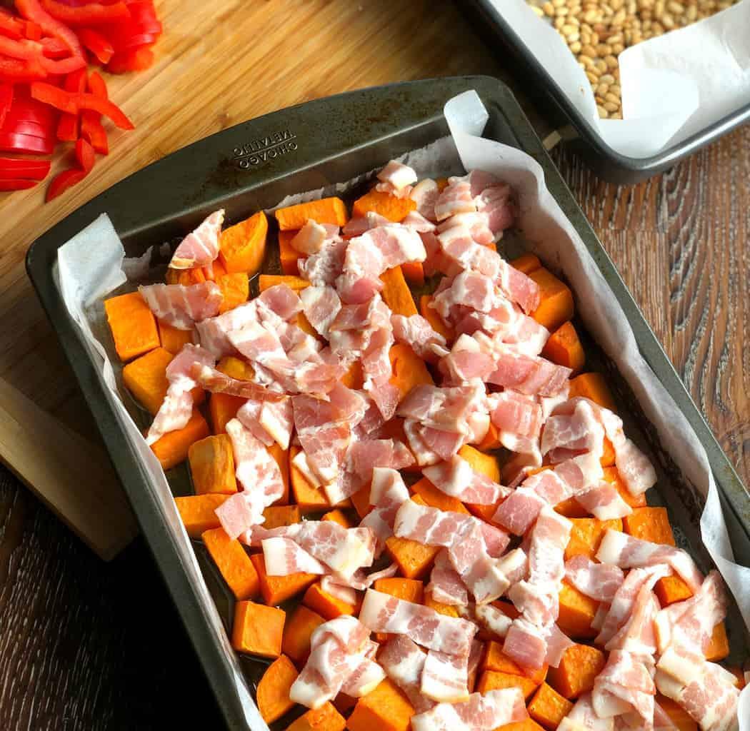 Spread Bacon on the Par baked Kumara