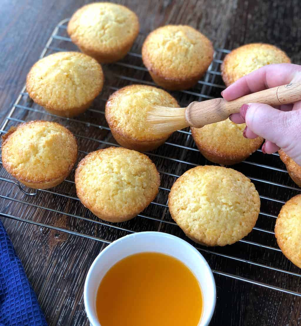 Orange Sugar Syrup over Hot Muffins