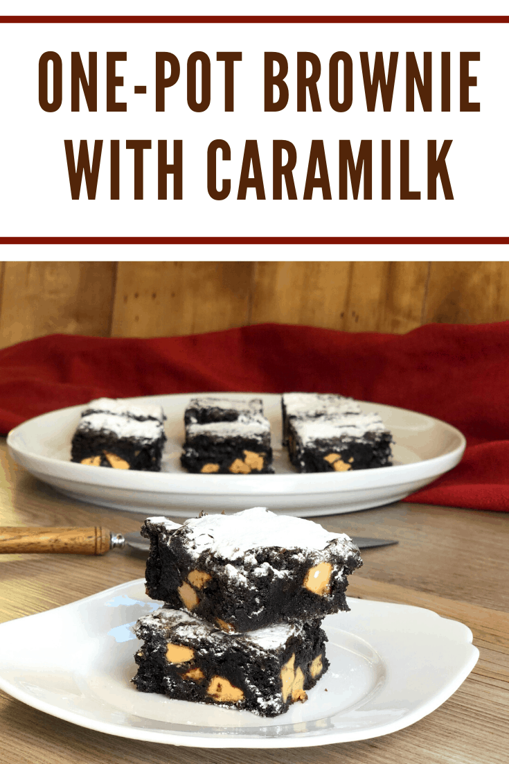 Delicious One-Pot Brownie with Caramilk, easy to make, rich dense brownie.