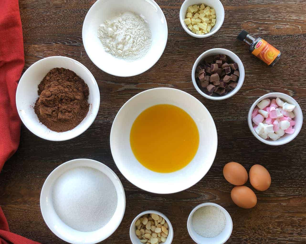 Ingredients for rocky road brownie