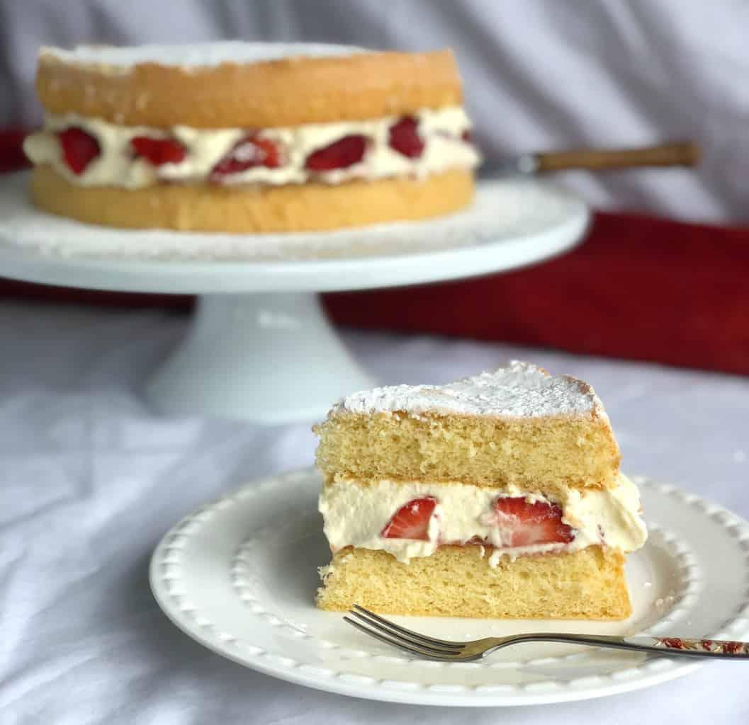 Slice of Sponge with Cream & Strawberries