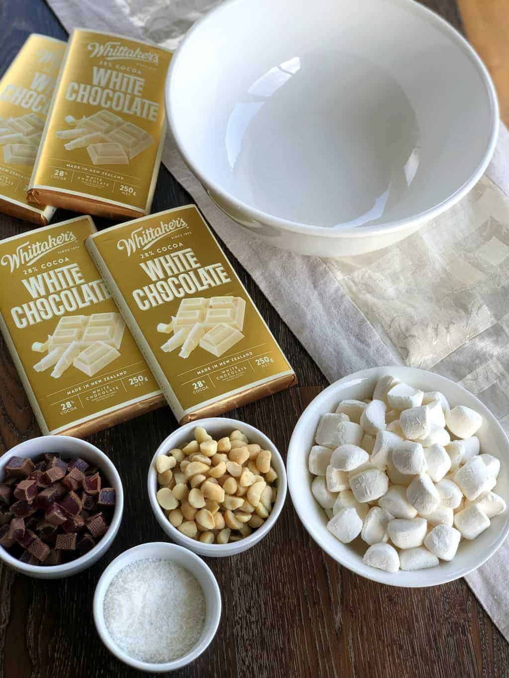 Ingredients for White Chocolate Rocky Road