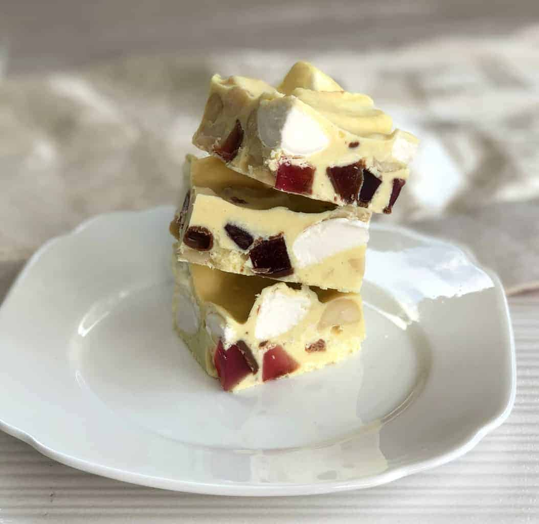 3 pieces of the best white chocolate rocky road