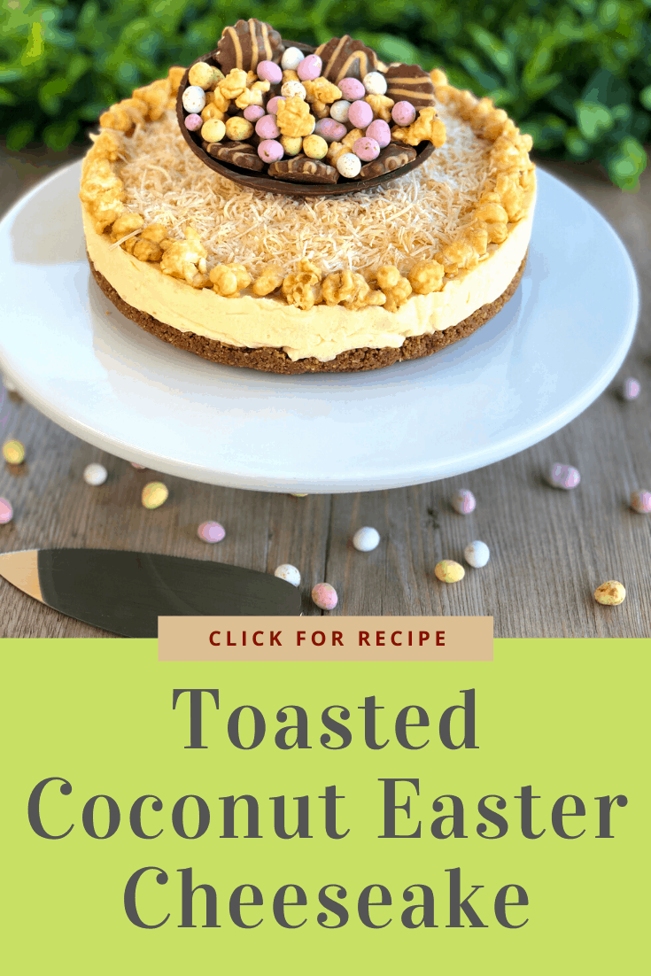 Pinterest Image for Toasted Coconut Easter Cheesecake