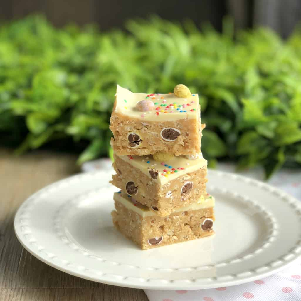 Pieces of Easter No Bake Slice