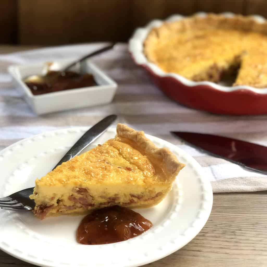Slice of Bacon & Cheese Quiche with Chutney