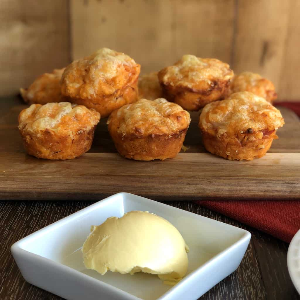 Fresh Warm Pizza Muffins with Butter