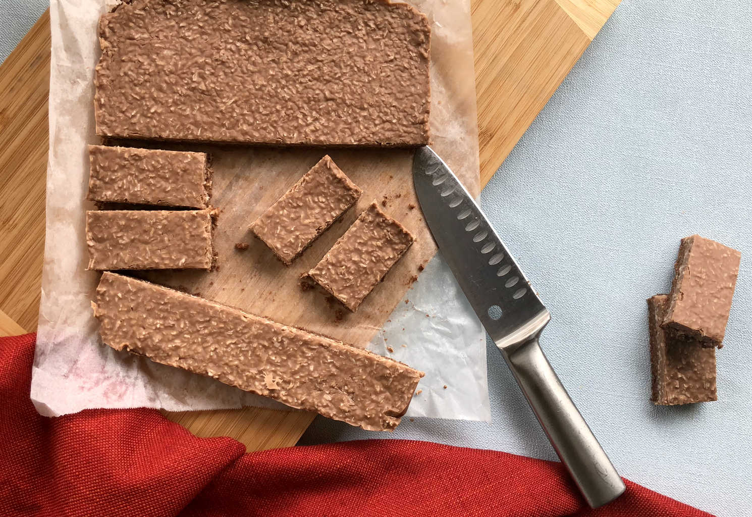 Overhead photo of coconut rough chocolate slice