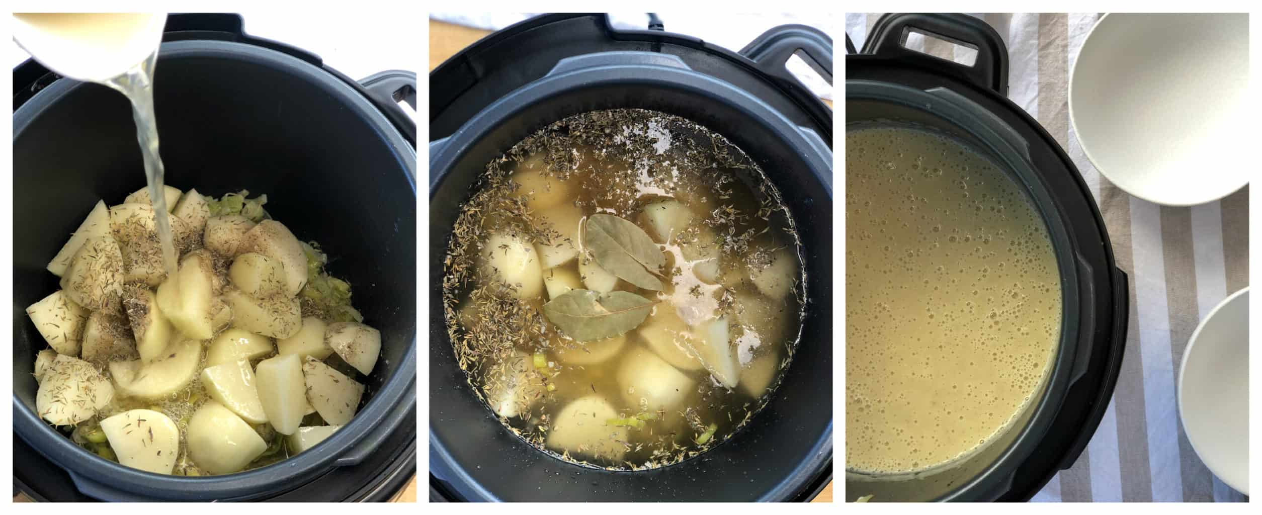 How to make and blend slow cooker potato and leek soup