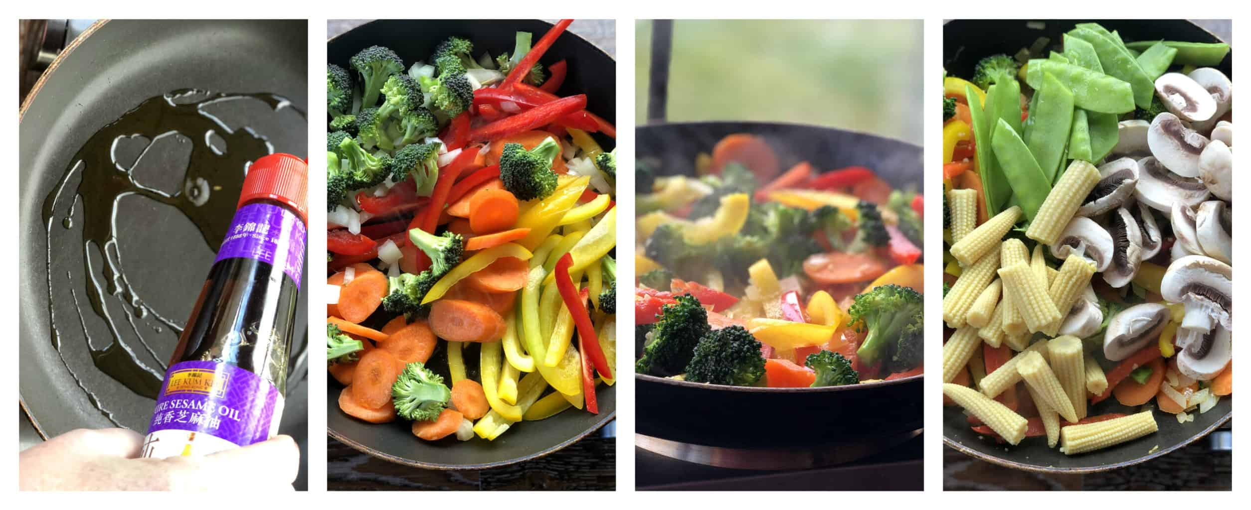 4 images showing step by step process of making a stir fry